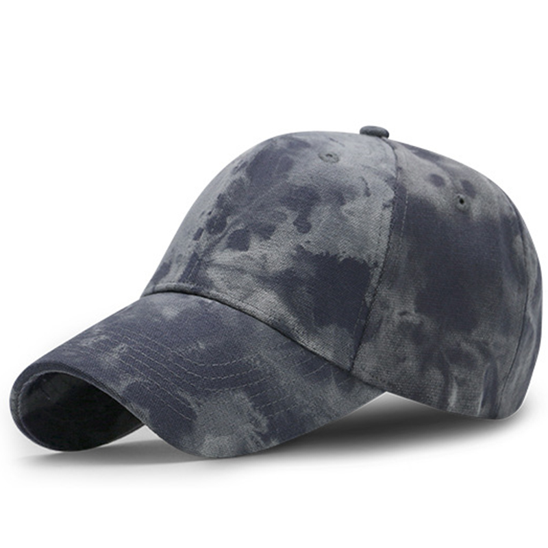 Tie-dyed cotton canvas 6 panel baseball cap