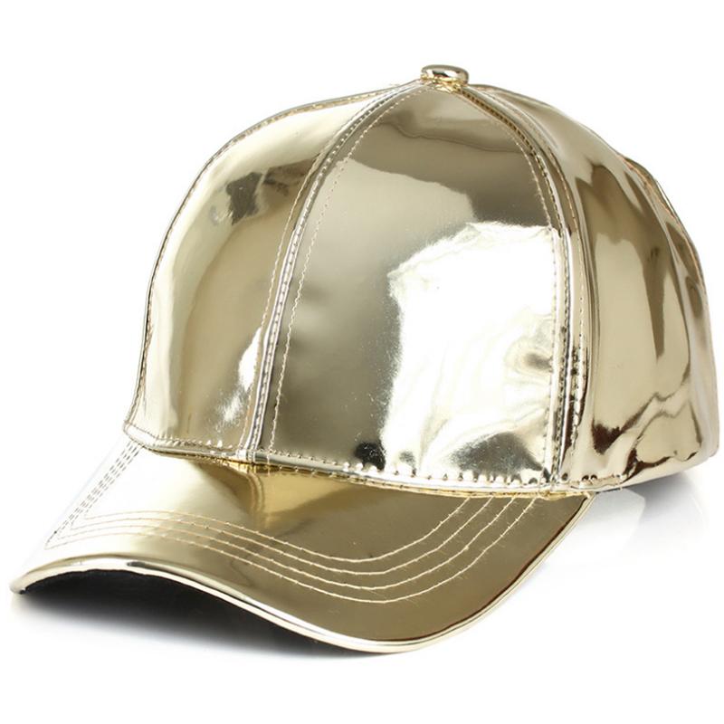 Glossy reflective PU leather baseball cap