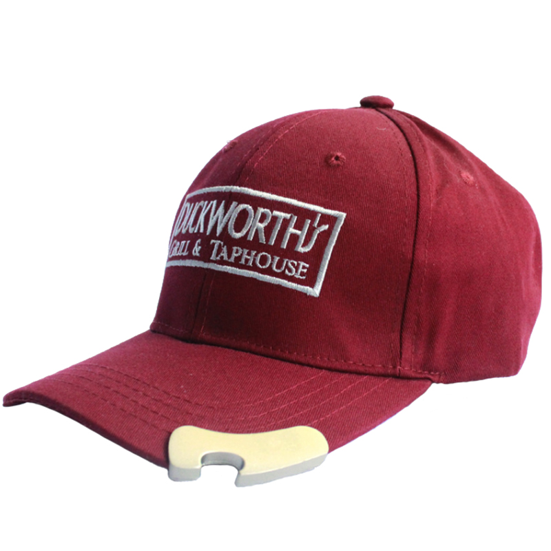 Garment washed baseball cap with bottle opener