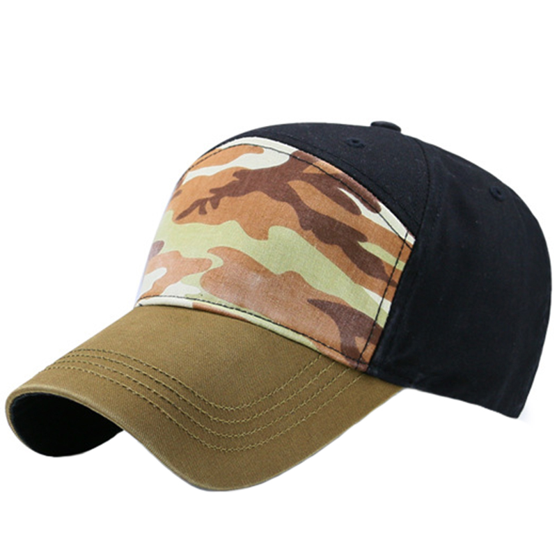 Garment washed special style 6 panels cap with camouflage front panel