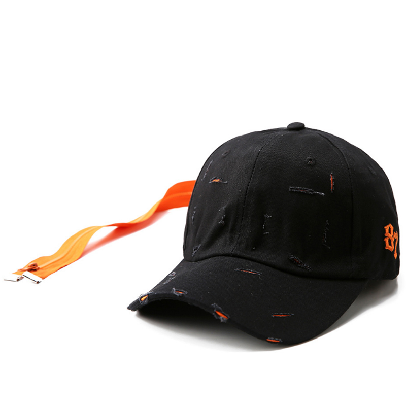 Heavy broken washed baseball cap with long accessory back strap