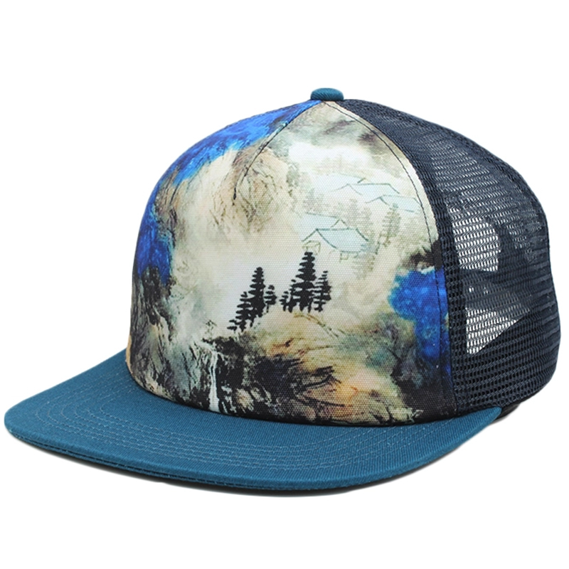 5 panel flat brim trucker hat with sublimation printing