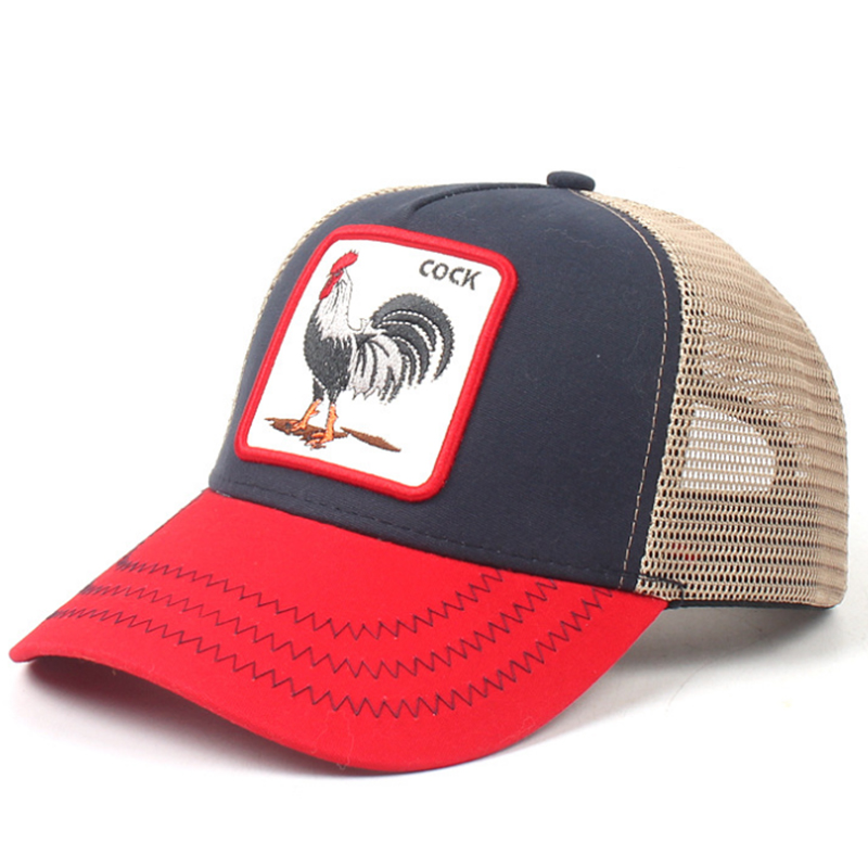 Rooster patch cotton trucker hat with mesh back