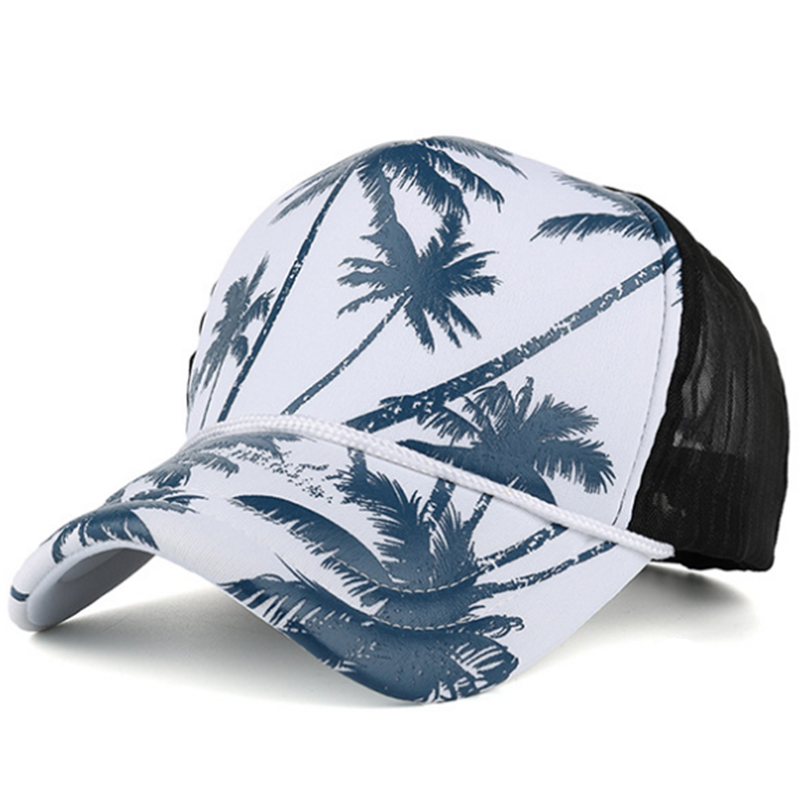 Hawaii mesh trucker cap with printing design and rope