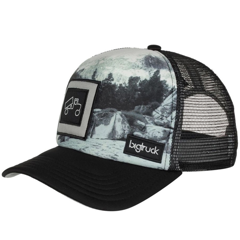 Printing polyester trucker hat with woven label sewn on front panel and back mesh