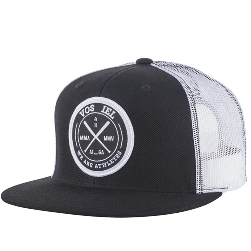 High profile flat bill trucker cap with woven label