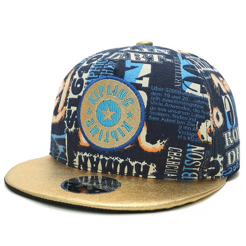 Cotton canvas printed snapback hats with leather brim and embroidery patch
