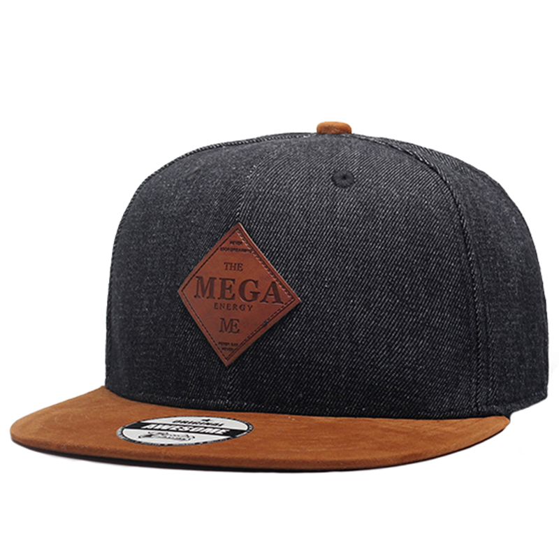 Classic denim crown and suded peak snapback hat for uniform