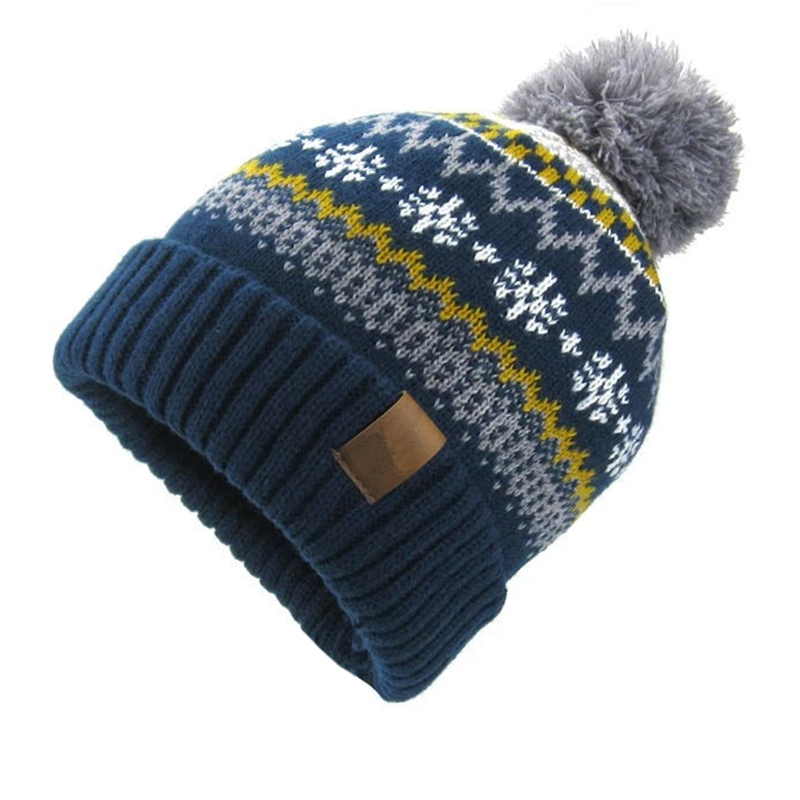 Double layer jacquard pattern knitted collegiate toque