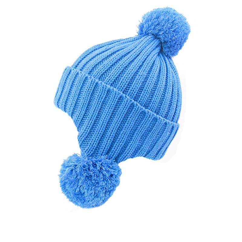Solid color plain logo crochet earflap beanie