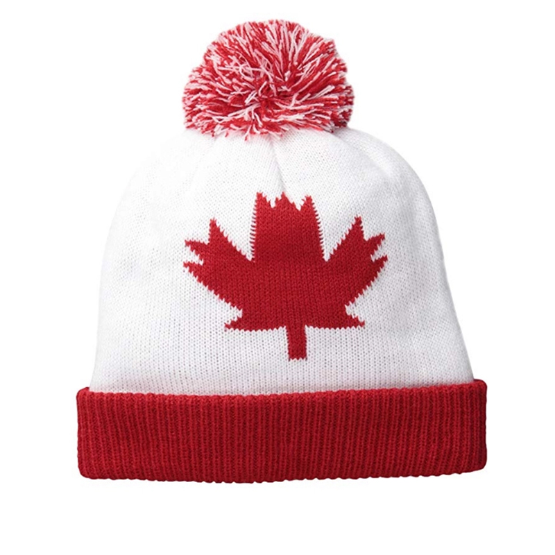 Maple leaf acrylic knitted pom toque with cuff