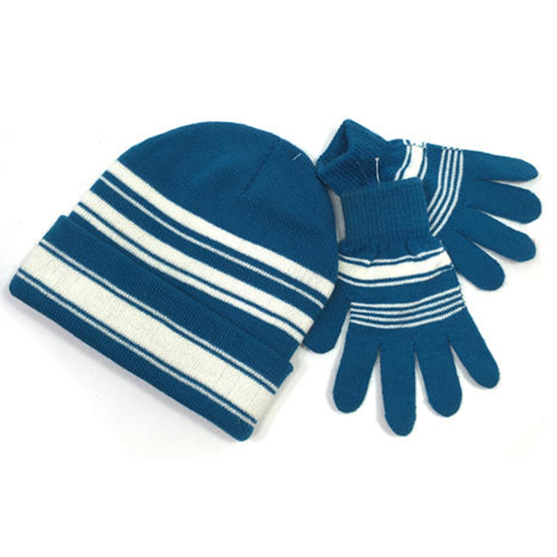 Winter warm knitted set of beanie and gloves