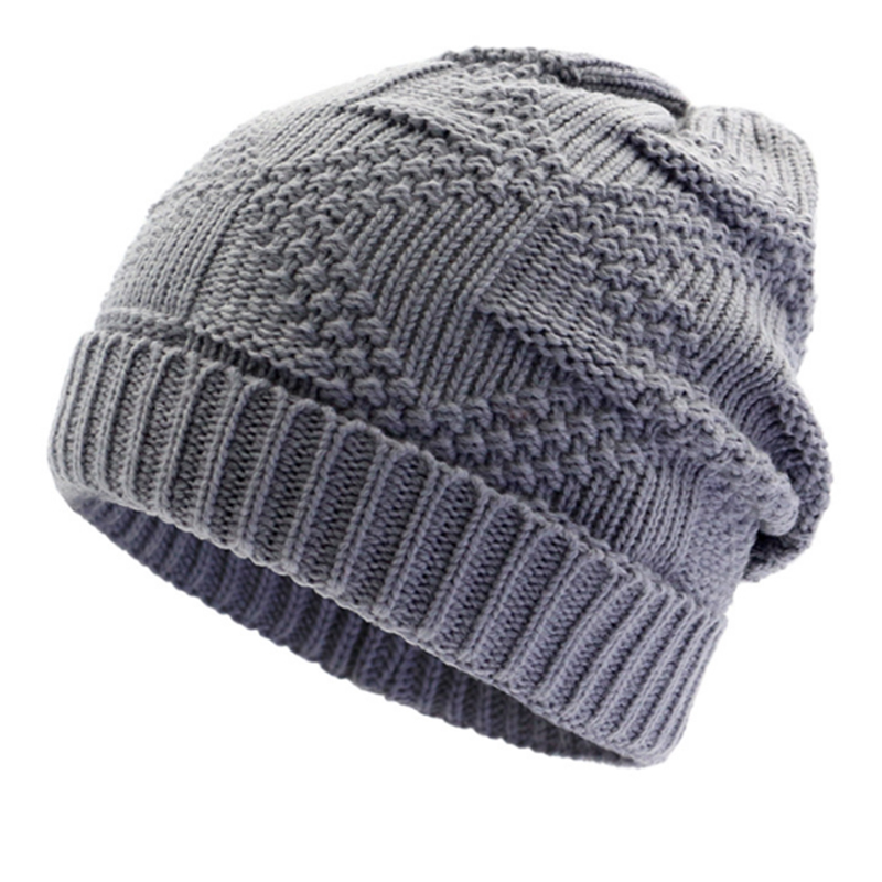 Single layer fashion jacquard knitted beanie hat