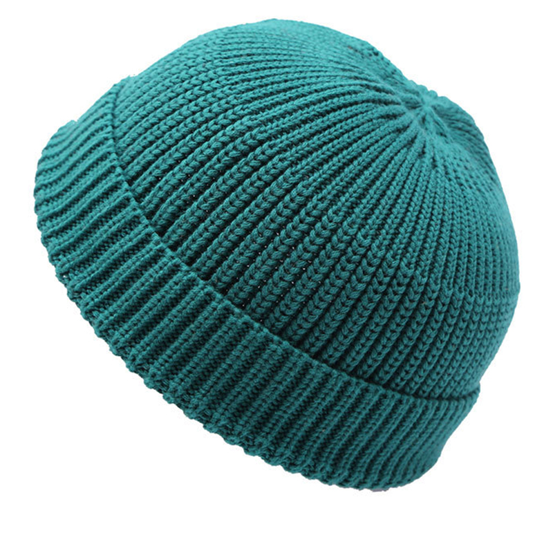Solid color acrylic winter knitted hat