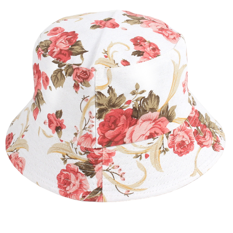 Women's cotton canvas floral pattern hawaii beach sun hat