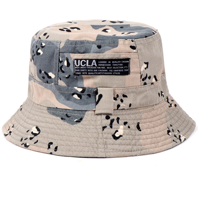 Printed cotton slubbed fabric outdoor fishing hat