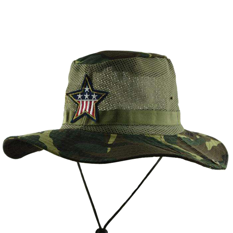 Camo color brim and mesh crown jungle hat with string