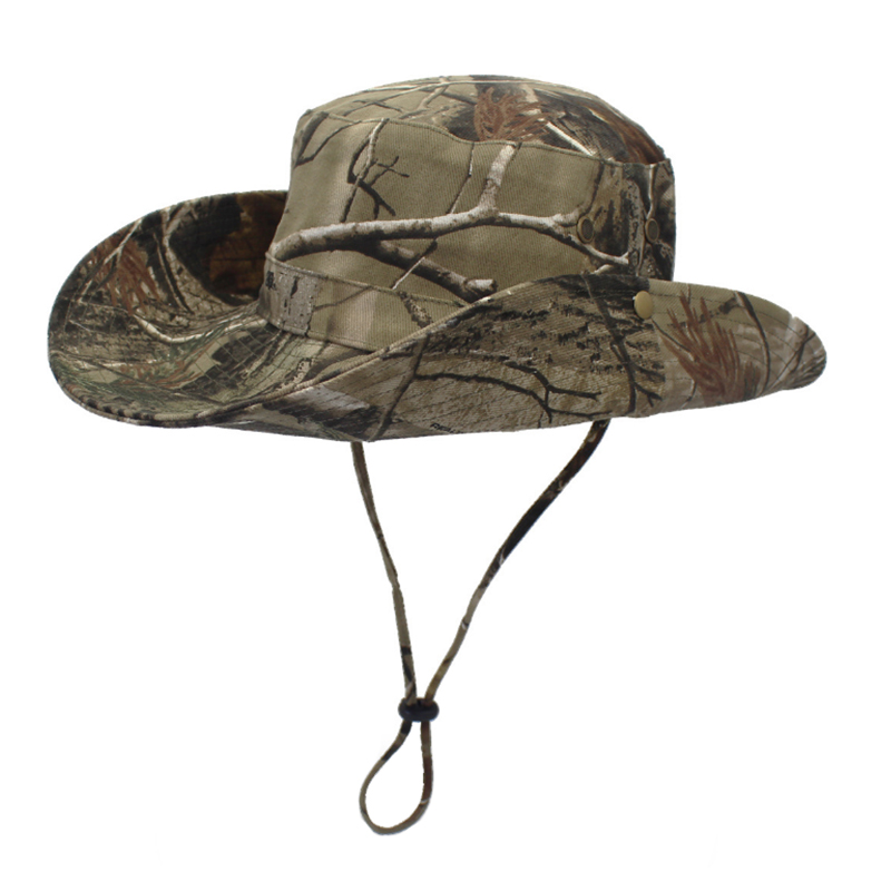 Cotton fabric Jungle camouflage wide brim bush hat