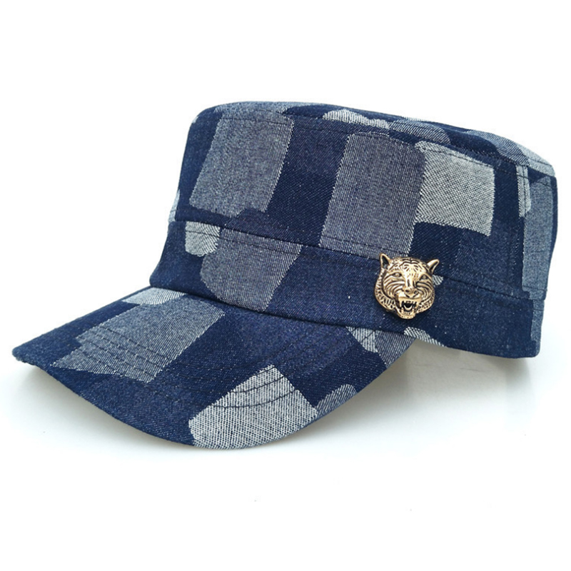 Fashion design denim military hat with metal badge