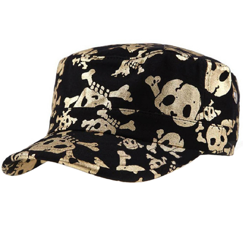 Gold/silver hot stamp skull fatigue hat