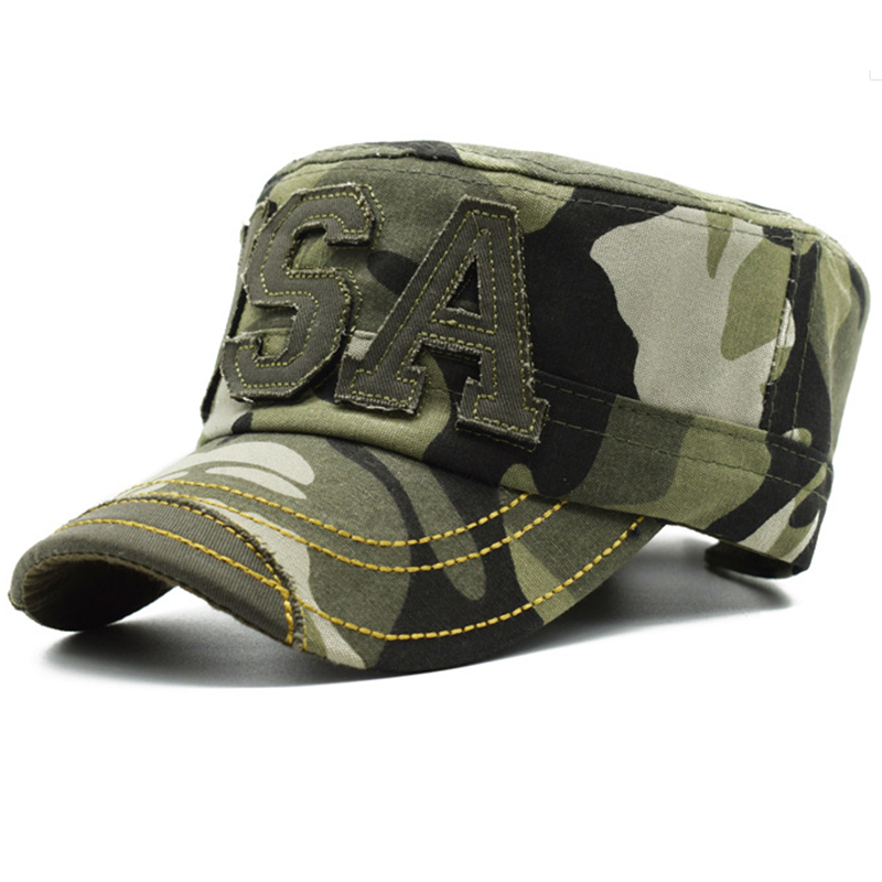 Camo military fatigue hats with fabric patch logo
