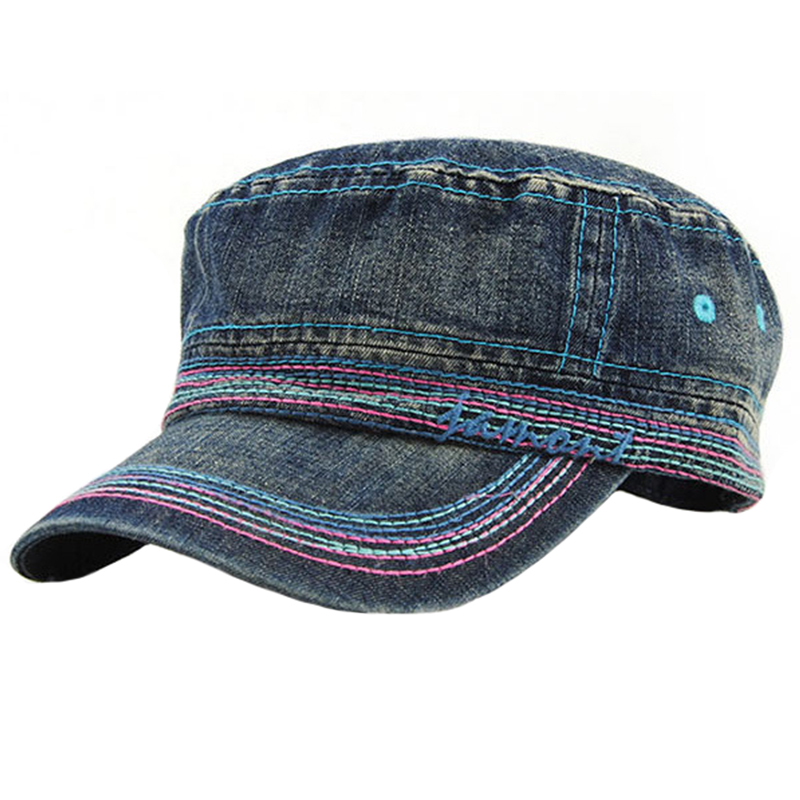 Heavy washed denim army military hat with multicolor threads