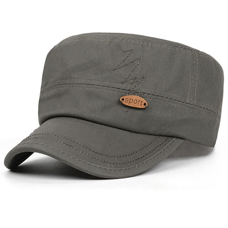 Plain olive color cotton twill patrol hat with wooden badge