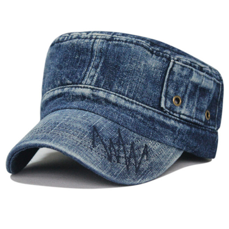 Stone washed blue denim army style patrol cap