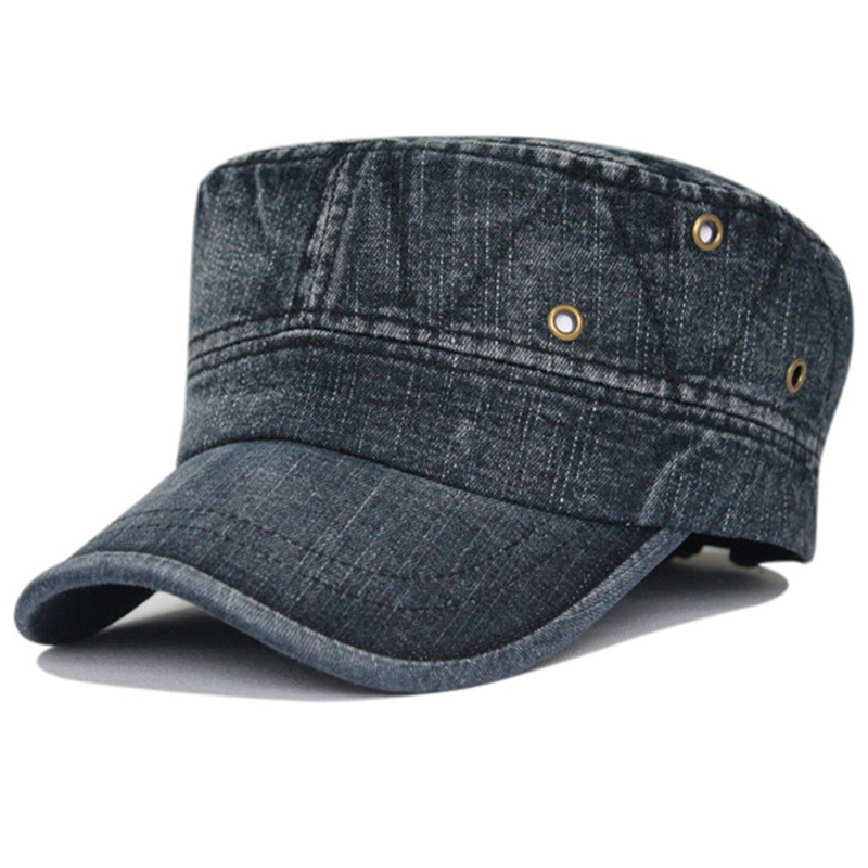 Plain washed denim military patrol cap