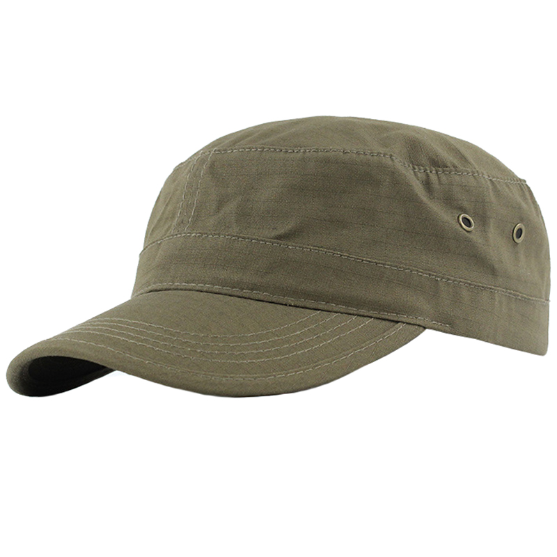 Olive color plain slubbed fabric castro cap
