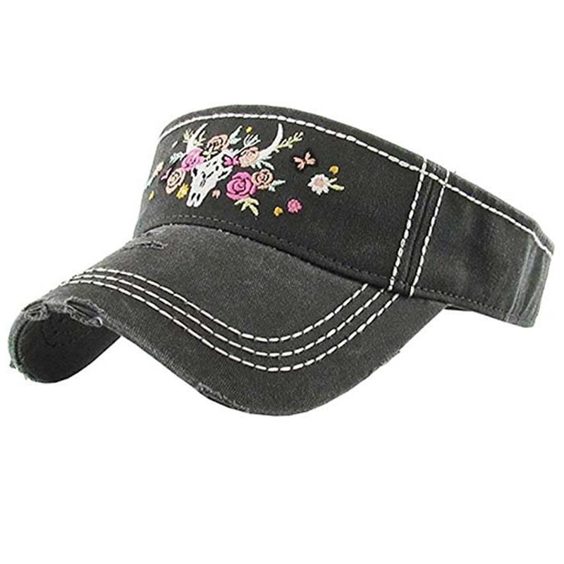 Broken washed cotton sun visor with bold thread and embroidery