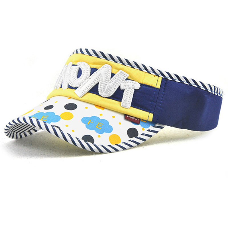 Kids fashion sun visor with printing and applique logo