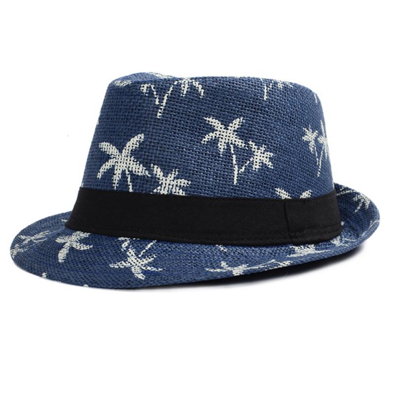 Trendy printed logo summer fedora hat