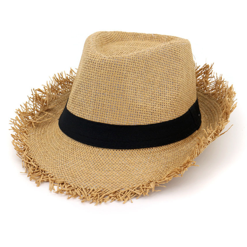 Attractive price promotional paper fedora hat with frayed edge