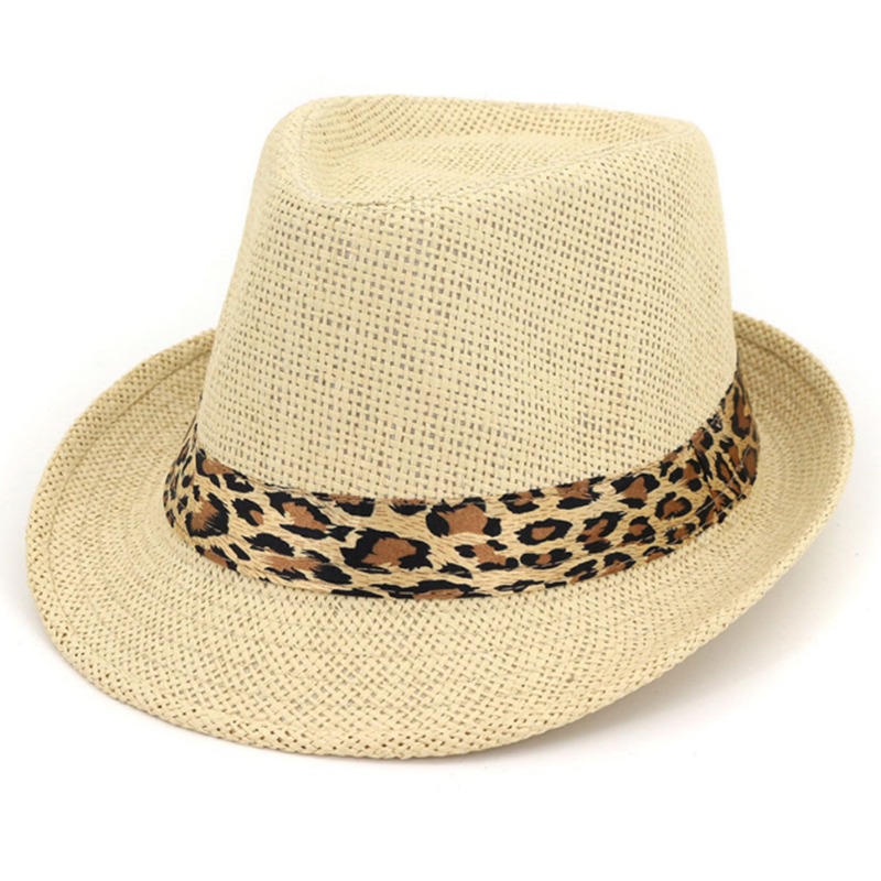 Lowest price promotion paper fedora hat with leopard accessory band