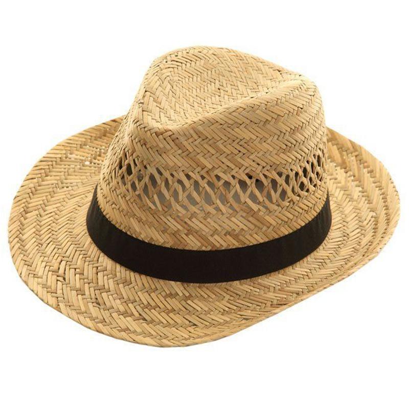 Promotional blank wide brim hollow straw fedora hat