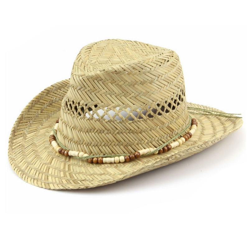 Men's hollow straw cowboy hats with beads accessory