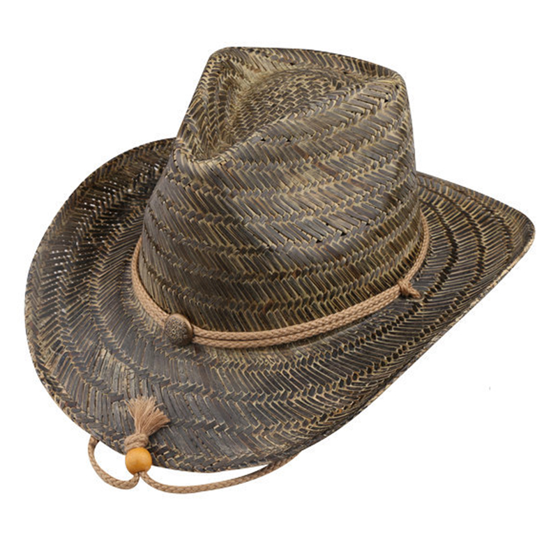 Painted color hollow straw cowboy hat with chin string