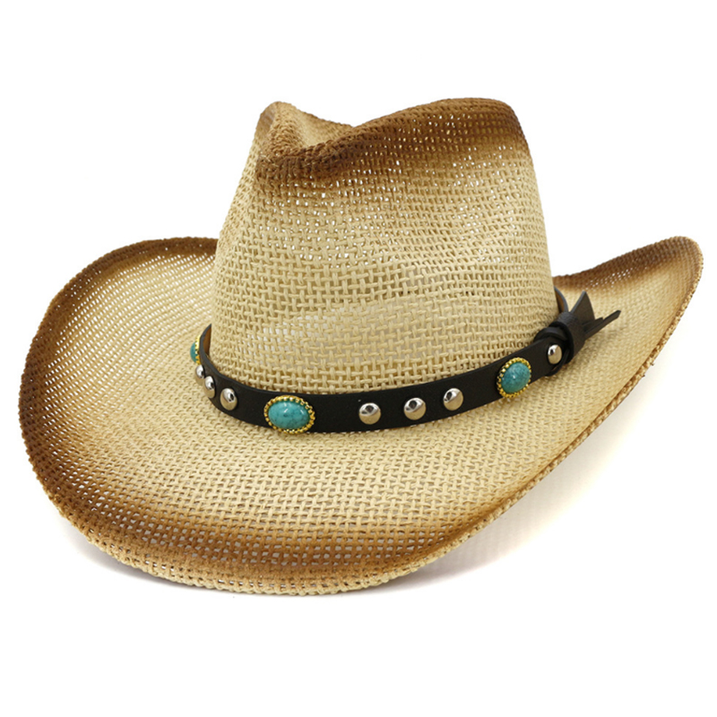 Wholesale painted paper straw roll up cowboy hat