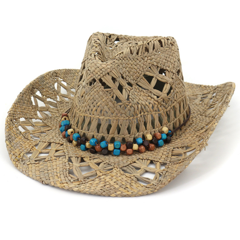 Classic natural straw cowboy hat with beads accessory and elastic sweatband