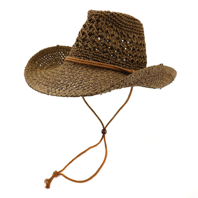 Hand made crochet cowboy hats with chin string