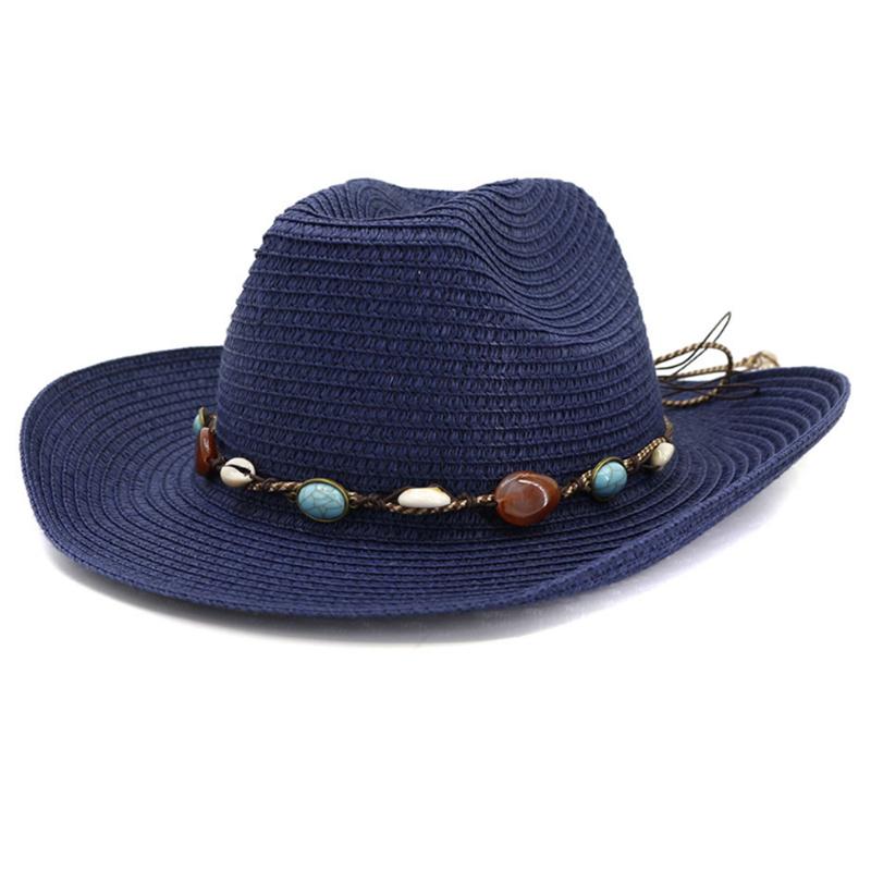 Paper braid wide brim cowboy style summer beach hat