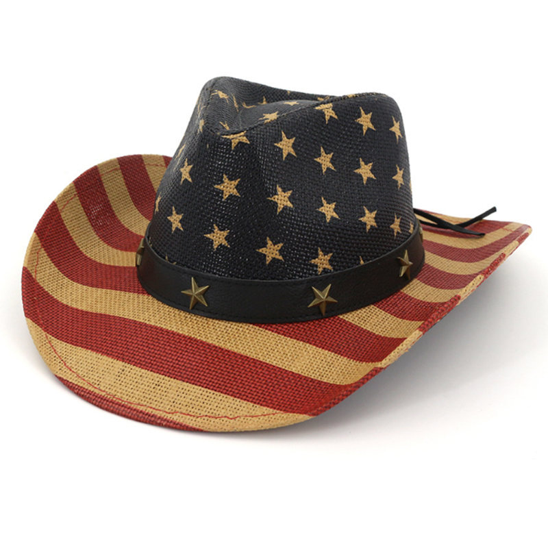 Customized painted western American flag cowboy hat
