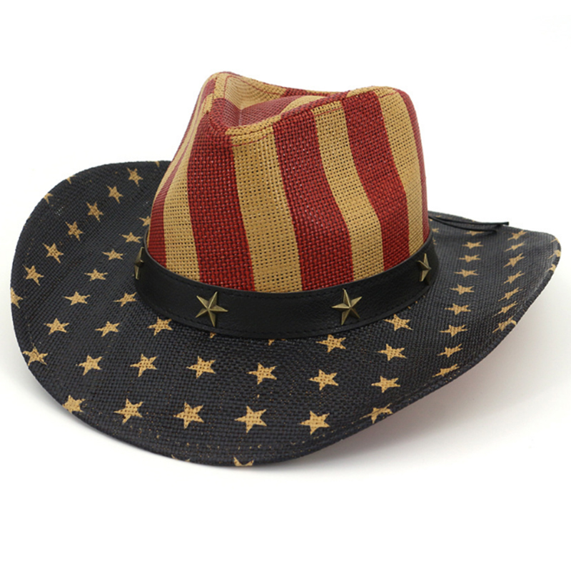 Personalized classic printed American flag paper straw cowboy hat