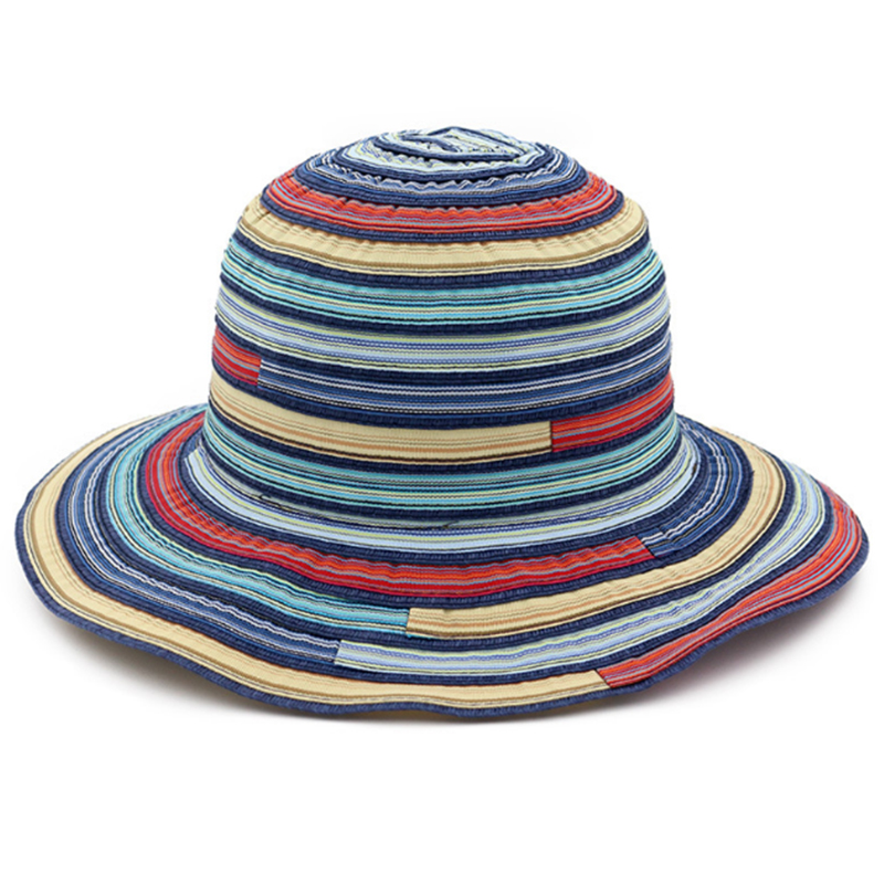 Women's colorful large brim ribbon hat