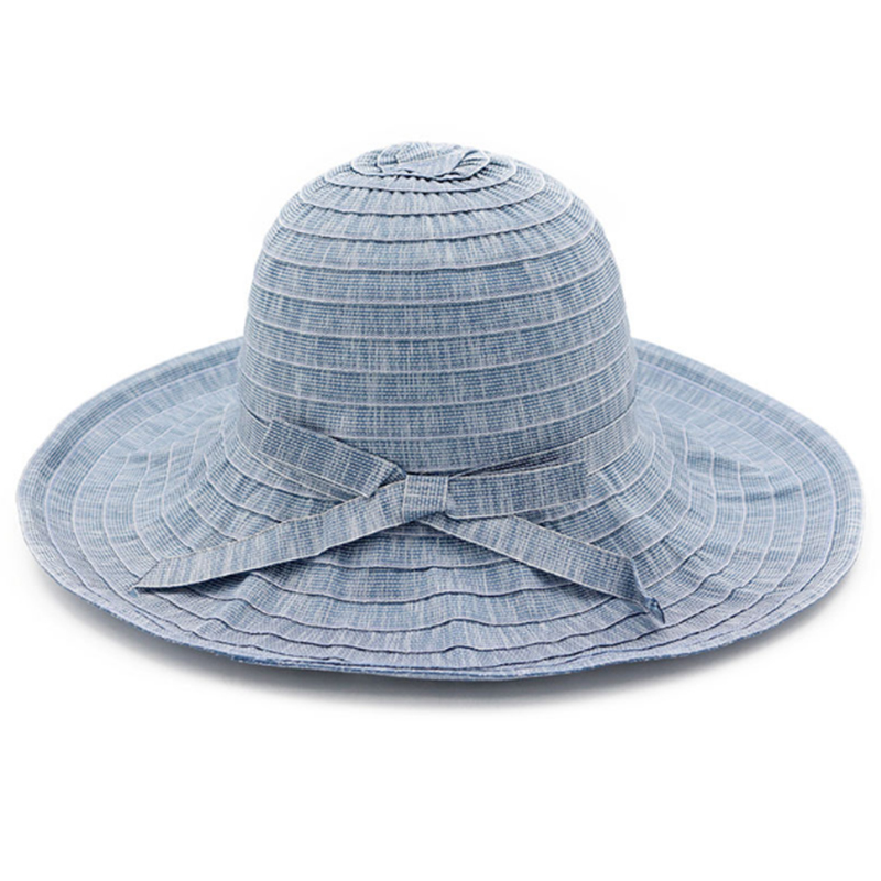 Solid color ribbon material women's summer sun protection hat