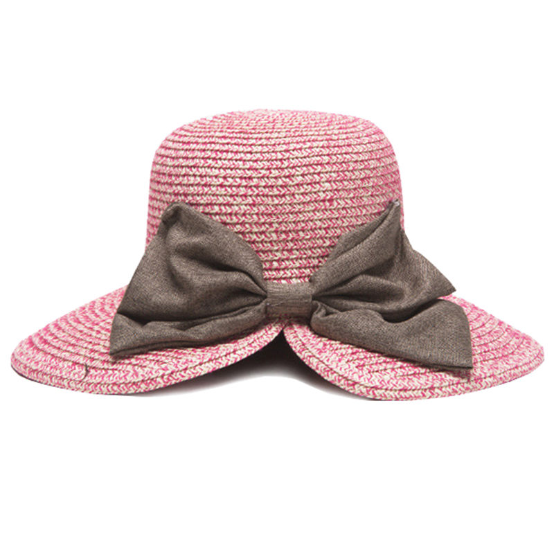 Mix colors women summer beach hat with flax bowknot