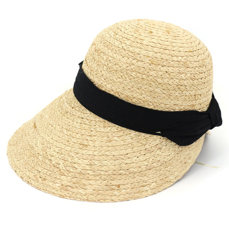 Women's size adjustable summer raffia sun visor