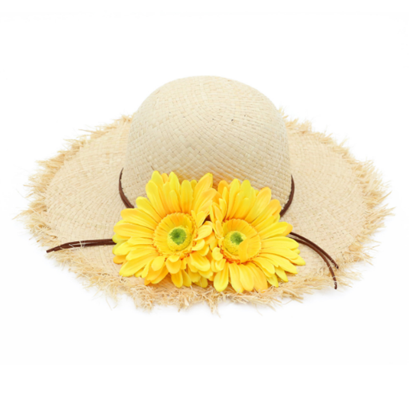 Summer sun beach raffia Hawaii hat with flowers accessory