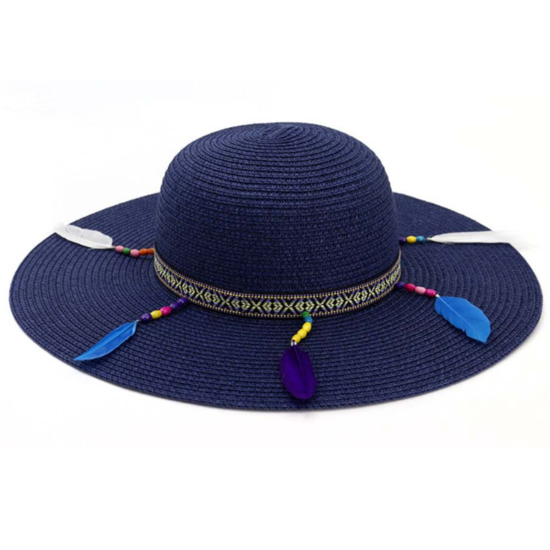 Women's paper straw shield hat with ribbon, beads and feather accessory